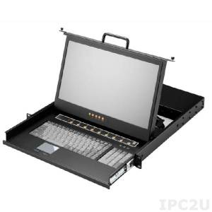 "AMK508-17WCB 1U, 17.3"", 1920x1080 LCD keyboard drawer, VGA, single rail, with 8 * 1.8m USB cable, 8 port Combo KVM switch, touchpad"