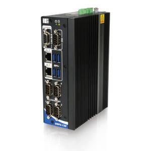 DRPC-130-AL-E1-R10 Fanless DIN-Rail Computer, Intel Atom x5-E3930 1.8 GHz, 1xDDR3L SO-DIMM, 2xHDMI, 2xGbit LAN, 4xRS232/RS422/485, 4xUSB 3.0, DB9 CAN Bus (2-ports, 2.5kV isolation), 4xDI/4xDO, 1x mSATA Full-Size, 1x Mini-PCIe Half-Size, 12..24 V DC-In
