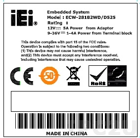 52400-Z13607-00-RS SAFETY LABEL;ECW-281B2WD/D525;Z136;39.5*39.5mm;#50 POLYESTER;CE,FCC DC;12V/5A ,9-36V/1-4A;MADE IN CHINA;;7;ASH PRINTING;CCL;RoHS
