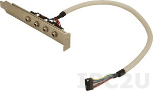 19800-000800-100-RS Audio cable with bracket 4 audio jacks to one 12-pin (2 x 6) connector (P:2.0), 25cm