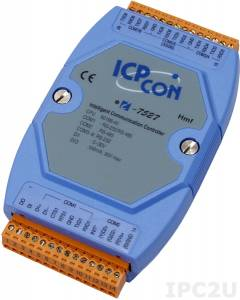 I-7527 Addressable one RS-485 to one RS-232/485 and seven RS-232 Converter, cable CA-0910x1