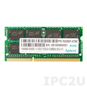 75.B93E4.G010C 4GB Apacer Memory DDR3 SODIMM 1.5V 1600MHz Non-ECC 512Mx8, Chip MC-K, Wide Temperature -40..+85C
