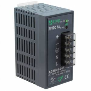 AD1024-24F 24W/1A DIN-Rail 24VDC power supply with universal 100~240VAC / 120~370VDC input