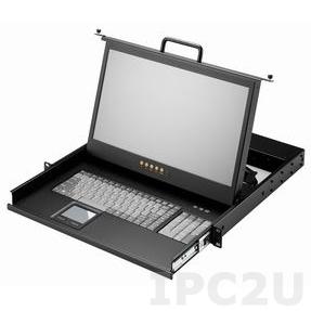 "AMK501-17WUB/DVI 1U, 17.3"", 1920x1080 LCD keyboard drawer, single rail, with 1.8m KVM cable, 1 port USB K/B, touchpad, DVI-D"