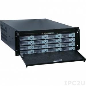 "GHI-480-SATA/MX3-6600P-BLK 19"" Rackmount 4U Chassis, EATX, 1x5.25""Slim/1x3.5""Slim/16x3.5""Hot Swap SATA HDD/2x2.5""HDD Drive Bays, with ZIPPY MX3-6600P PS, BLK"