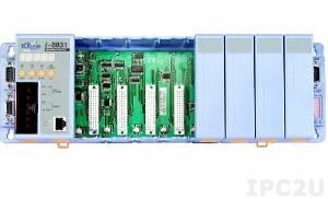 I-8831 PC-compatible 40MHz Industrial Controller, 512kb Flash, 512kb SRAM, 2xRS232, 1xRS232/485, Ethernet 10BaseT, 7-Segment Display, Mini OS7, 8 Expansion Slots