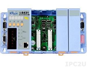 I-8431-MTCP PC-compatible 40MHz Industrial Controller, 512kb Flash, 512kb SRAM, 2xRS232, 1xRS232/485, Ethernet 10BaseT, 7-Segment Display, Mini OS7, Modbus/TCP, 4 Expansion Slots