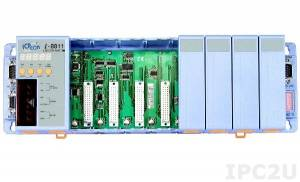 I-8811 PC-compatible 40MHz Industrial Controller, 512kb Flash, 512kb SRAM, 2xRS232, 1xRS485, 1xRS232/485, 7-Segment Display, Mini OS7, 8 Expansion Slots